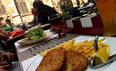 Schnitzel and fries on Muensterplatz in Freiburg-im-Breisgau, Germany. Flickr:Jeremy Keith