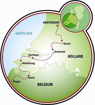 Bruges to Amsterdam Map