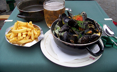 Moules Frite, a typical Belgian lunch of mussels and fries. Flickr:Colin Cameron