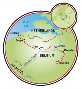 Brussels to Bruges Map