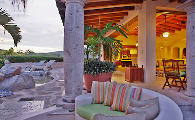 Casa Corona Sitting Area Next To Bbq And Pool Palapa Bar