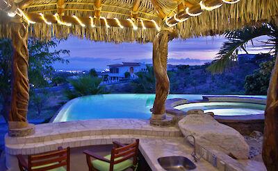 Casa Corona View From Palapa Pool Bar Area At Night