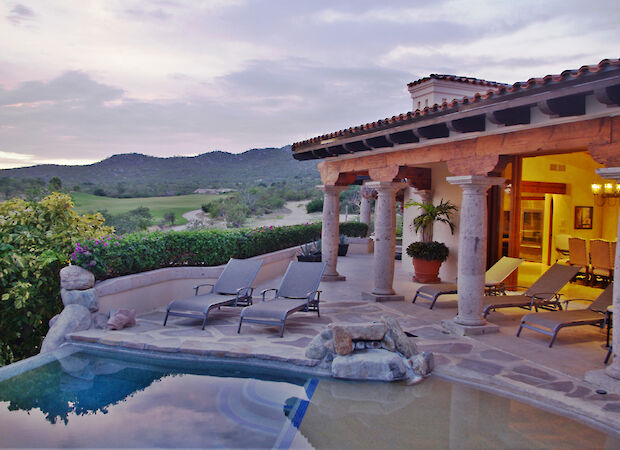 Casa Corona View From Palapa Towards Golf Course And Pool Lounging Area