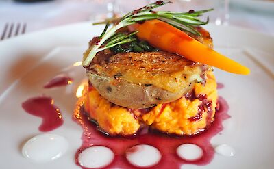 Sweet potato two ways with carrot & sage red wine reduction in Burgundy, France. Flickr:Lily H