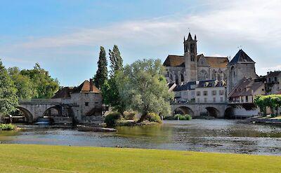 Along the river in Moret, Burgundy, France. Flickr:Patrick