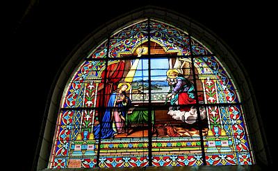 Stained glass windows at Chateau de Cheverny in France. Flickr:ho visto nina volare