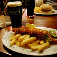 Fish & Chips with Guinness in Ireland of course! Flickr:Laura LaRose