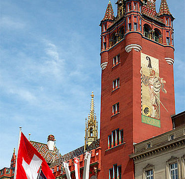 Rathaus Tower in Basel, Switzerland. Photo via Wikimedia Commons:Kuty