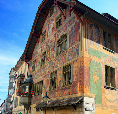 Schaffhausen has 35 buildings listed of significant heritage, including this one. Switzerland. Photo via Flickr:dmytrok