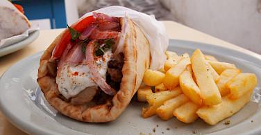 Mid-ride Greek snack of falafel and fries perhaps. Flickr:Ben Ramirez