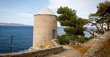 Windmill on Hydra Island, Greece.