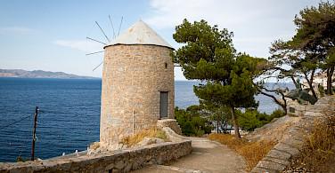 Windmill on Hydra Island, Greece.