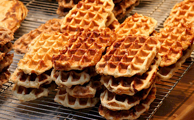 Sugar Belgian waffles are sold everywhere! CC:Jrenier