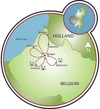 Por volta da romântica Bruges Map