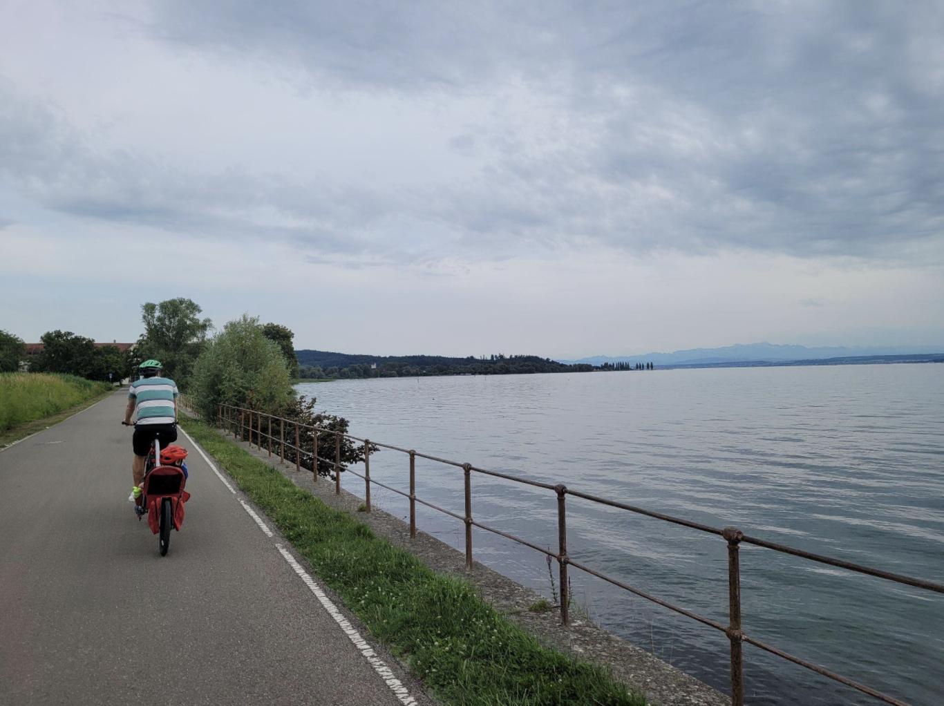 Bike riding on path Lake Constance