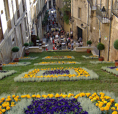 Flower display on the streets of Girona, Spain. Photo courtesy of Wikimedia Commons