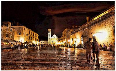 Nighttime in Hvar, Croatia. Photo via Flickr:Mario Fajt