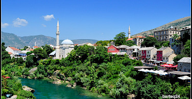 Mostar on the Neretva River, Bosnia-Herzegovina. Photo via Flickr:Bartlomiej Mostek