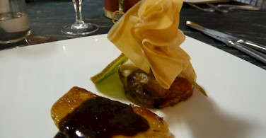 Foie gras for dinner in Sarlat, France. Photo via Flickr:Christine McIntosh
