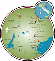 Dolomites to Venice Map