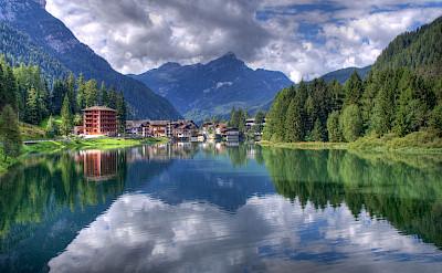 Lake Alleghe in the Dolomiti Bellunesi National Park, Belluno, Veneto, Italy. CC:Roberto Ferrari