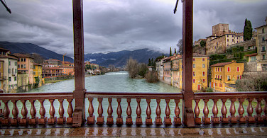 On the Ponte degli Alpini in Bassano del Grappa, Veneto, Italy. Photo via Flickr:Salva Barbera