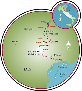 Dolomites to Venice Road Bike Tour Map