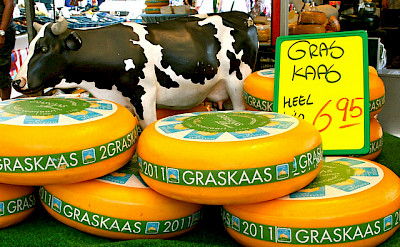 Famous Dutch cheese wheels at market in the Netherlands. Photo via Flickr:Ann Marie Michaels
