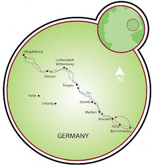 Dresden a Magdeburg Map