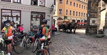 Hennie and friends biking through Meissen, Germany.