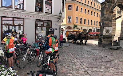Hennie and friends biking through Meissen, Germany.