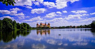 Elbe River with Schloss Moritzburg, Sachsen, Germany. Flickr:Polybert49