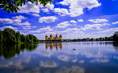 Elbe River with Schloss Moritzburg, Sachsen, Germany. Flickr:Polybert49