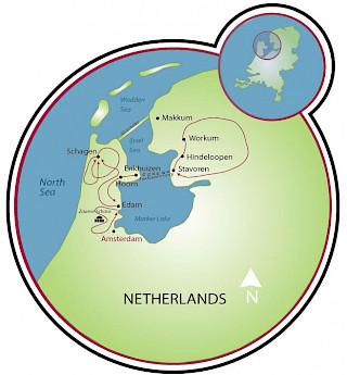 Dutch Highlights Tulip Tour Map