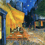 Café Terrace at Night, 1888 by Vincent Van Gogh - painted in Arles, France.