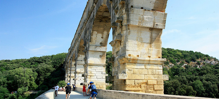 The famous Roman aqueduct, the Pont du Gard, a UNESCO World Heritage Site in Provence, France. Flickr:Andrea Schaffer