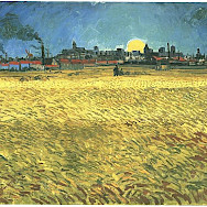 Sunset: Wheat Fields near Arles by Van Gogh 1888.