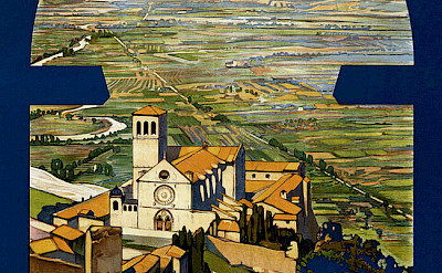 Travel poster of Assisi in Umbria, Italy from 1920.