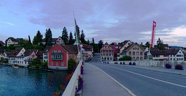 Crossing the bridge to Stein am Rhein, Switzerland. Photo via Flickr:Curran Kelleher
