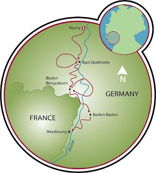 Rota do Vinho da Alemanha Map