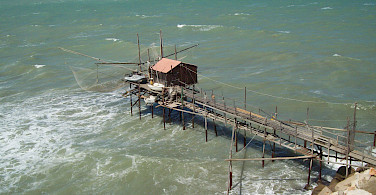 Trabucco are old fishing mechanisms found frequently along the Abruzzo coast. Photo via Flickr:altotemi