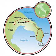 Viaje por el talón de Italia Mapa