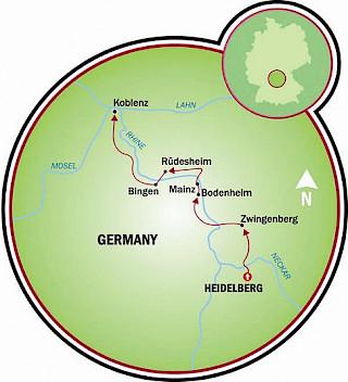 Heidelberg para Koblenz Map