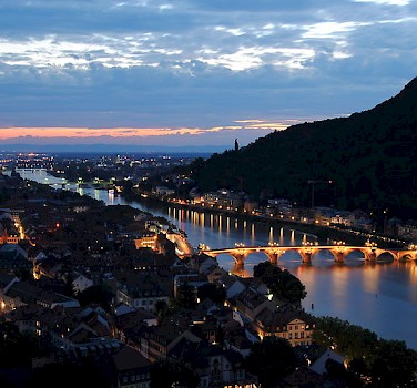 Heidelberg at night. Photo via Wikimedia Commons:Godoi