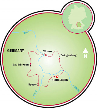 Heidelberg to the Nibelungen Map