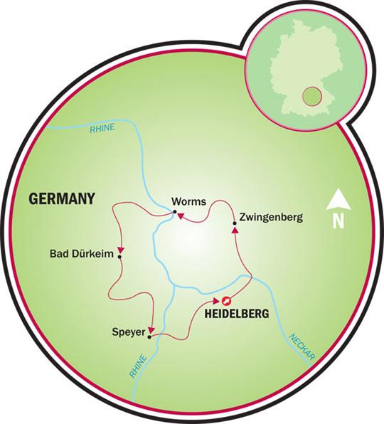 Map Zwingenberg Germany.Heidelberg To The Nibelungen Bike Tour Germany Tripsite