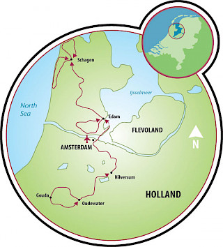 Holland in a Nutshell - a Tulip Tour Map