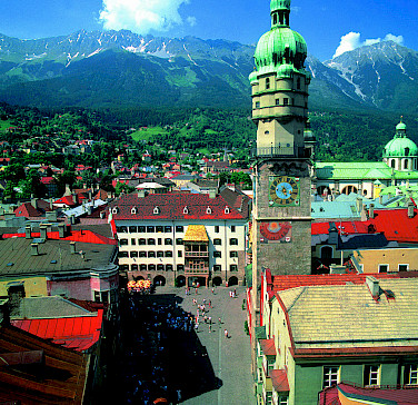 Golden Roof visible in Innsbruck, Austria. Photo via Austrian National Tourist Office