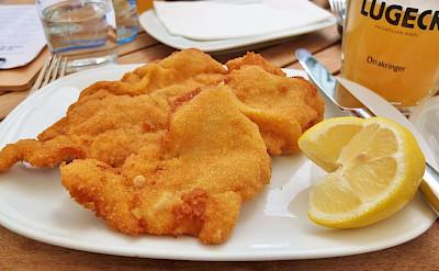 Great schnitzel in Austria! Flickr:traveljunction