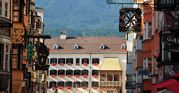 Famous <i>Goldenes Dachl</i> or Golden Roof in Innsbruck, Austria where Emperor Maximilian I would watch festivals etc. Photo via Flickr:Francisco Antunes